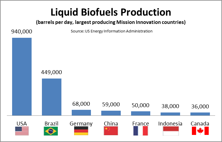 Graph of liquid biofuels production for the USA (940,000 barrels), Brazil (449,000), Germany (68,000), China (59,000), France (50,000), and Canada (36,000)
