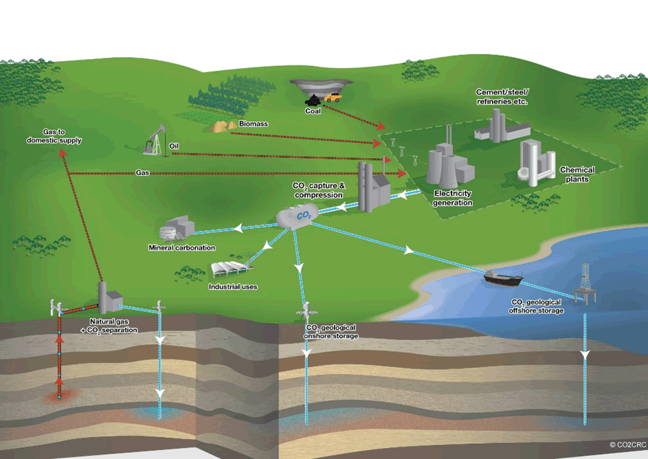 Diagram of a range of sources and storage sites that provide flexible CCS operations.