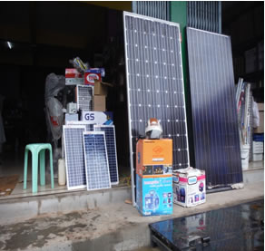 Image of off-grid solar panels and equipment